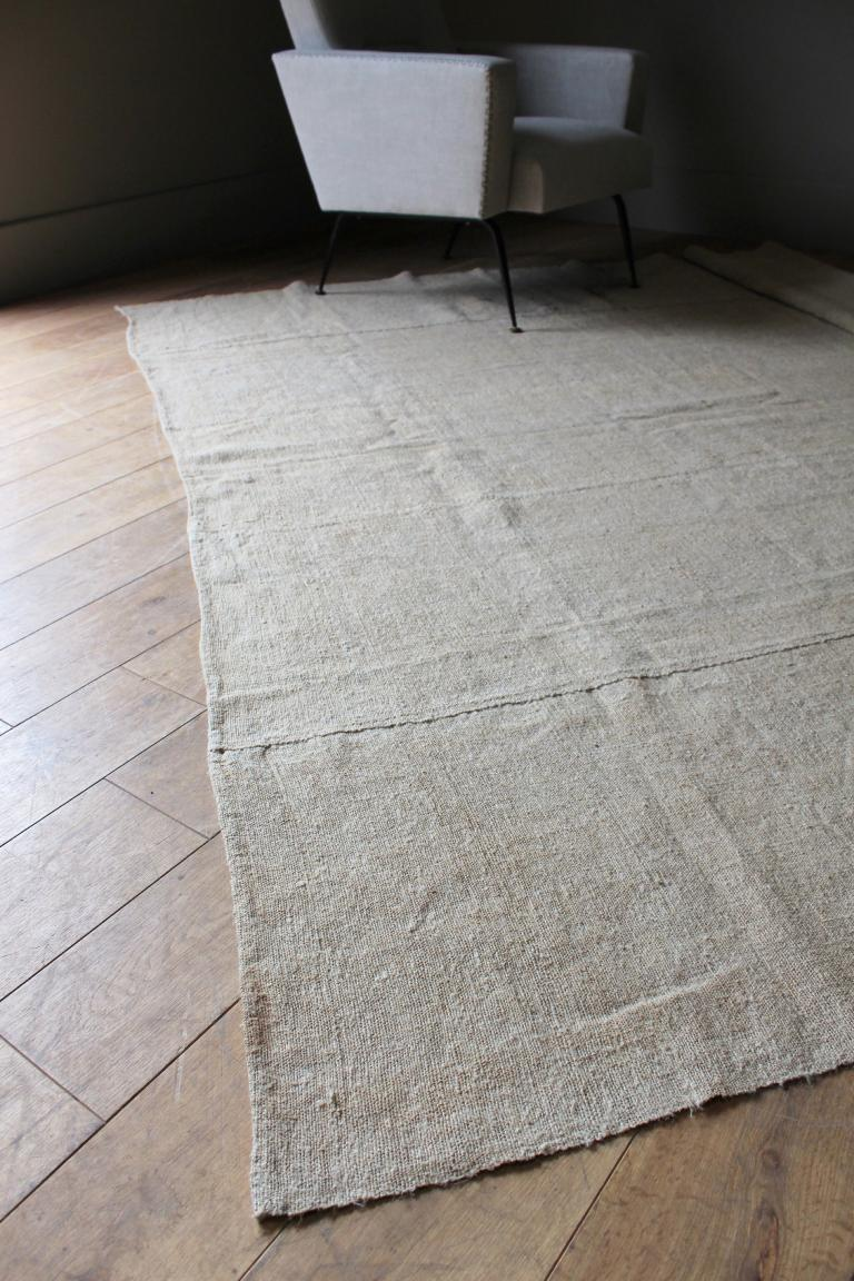 A Huge Antique Hemp Rug Throw In Decorative